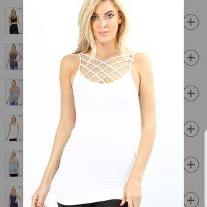 Zenana outfitters seamless triple criss-cross cami